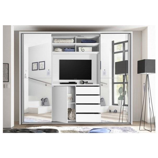 Šatní skříň s TV koutem ENIMA bílá/zrcadlo 3
