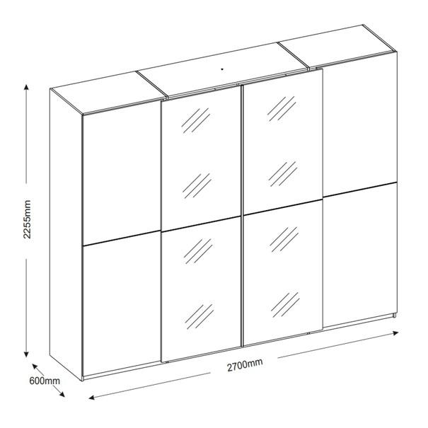 Šatní skříň s TV koutem ENIMA bílá/zrcadlo 5