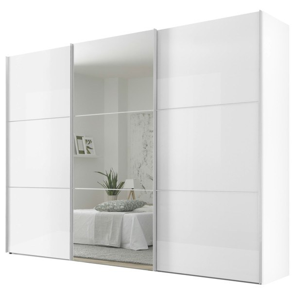 Šatní skříň ENSENSO bílá/zrcadlo 1