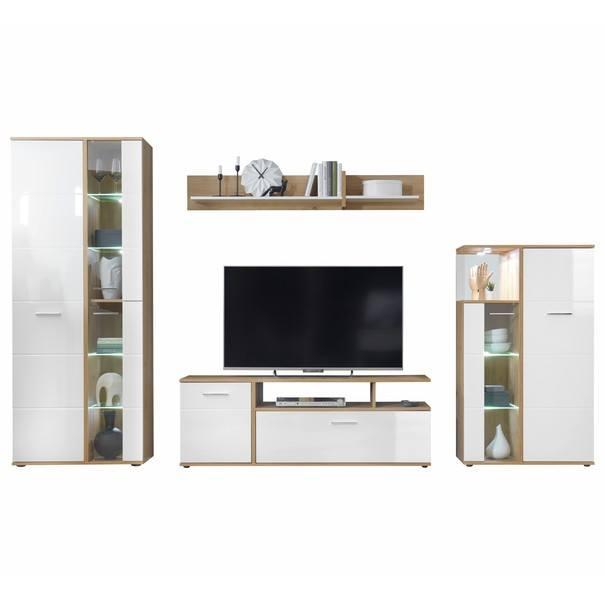 Obývacia stena EVER dub artisan/biela vysoký lesk 1