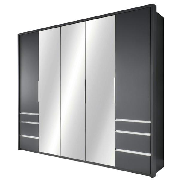 Šatní skříň se skládacími dveřmi EVERLY šedá/zrcadlo 1