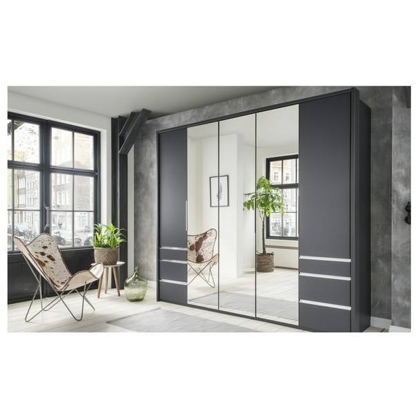 Šatní skříň se skládacími dveřmi EVERLY šedá/zrcadlo 2
