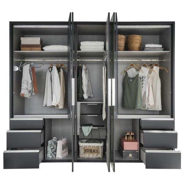 Šatní skříň se skládacími dveřmi EVERLY šedá/zrcadlo 3