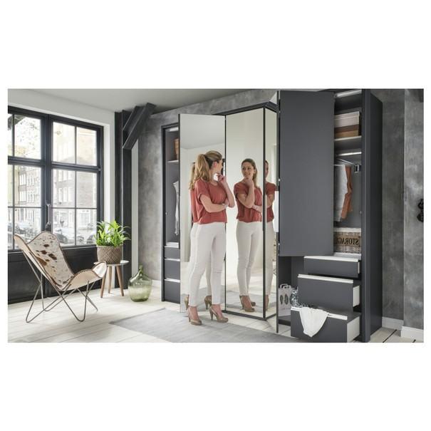 Šatní skříň se skládacími dveřmi EVERLY šedá/zrcadlo 6