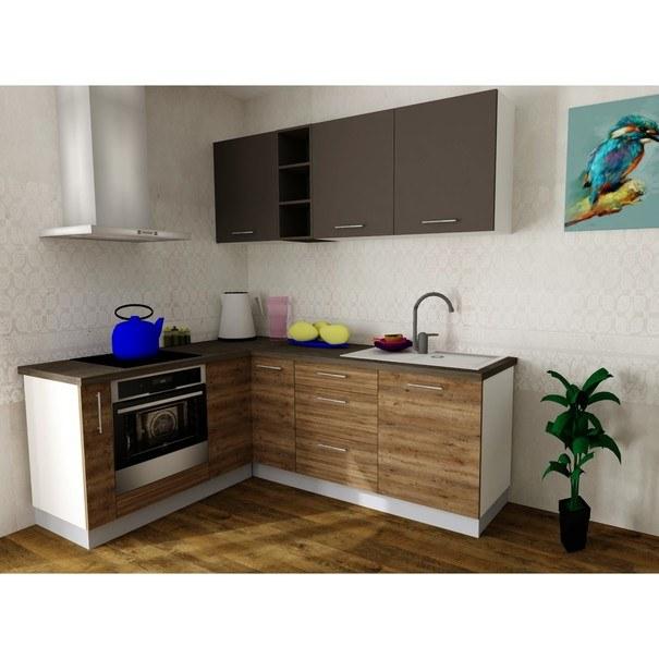 Sconto Rohová kuchyňská sestava FACHMAN B13, 172x217 cm antracitová vysoký lesk/dub alicante - nábytek SCONTO nábytek.cz