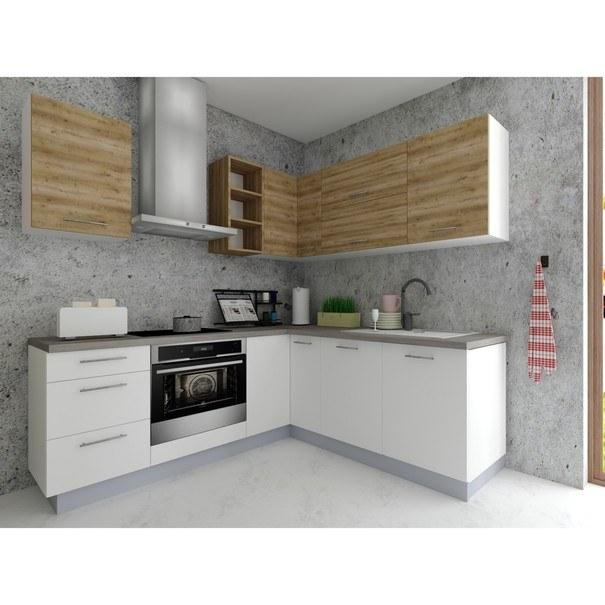 Sconto Rohová kuchyňská sestava FACHMAN B20, 202x217 cm dub alicante/bílá vysoký lesk - nábytek SCONTO nábytek.cz