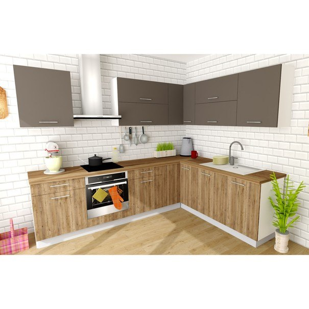 Sconto Rohová kuchyňská sestava FACHMAN B4, 277x217 cm antracitová vysoký lesk/dub alicante - nábytek SCONTO nábytek.cz