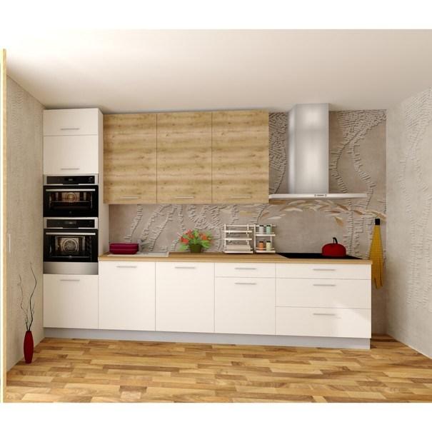 Sconto Kuchyňská sestava FACHMAN B8, 332 cm dub alicante/bílá vysoký lesk - nábytek SCONTO nábytek.cz