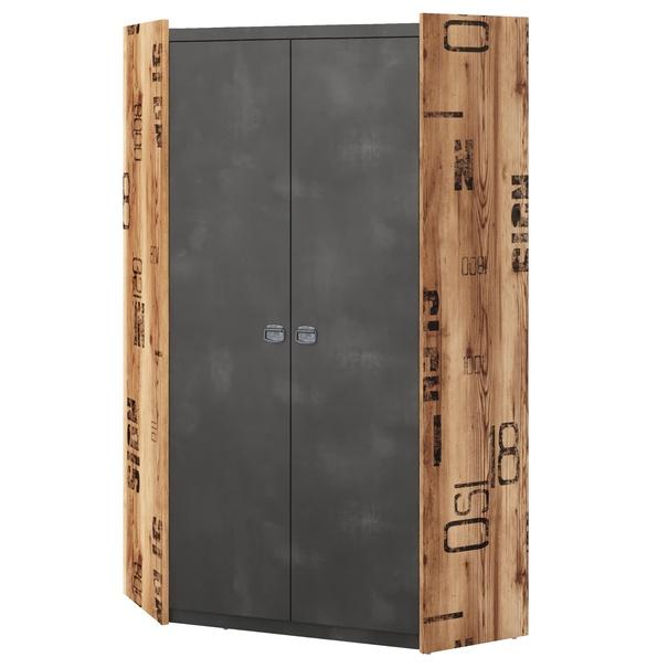 Rohová šatní skříň FARGO 17 smrk canion/šedá 1