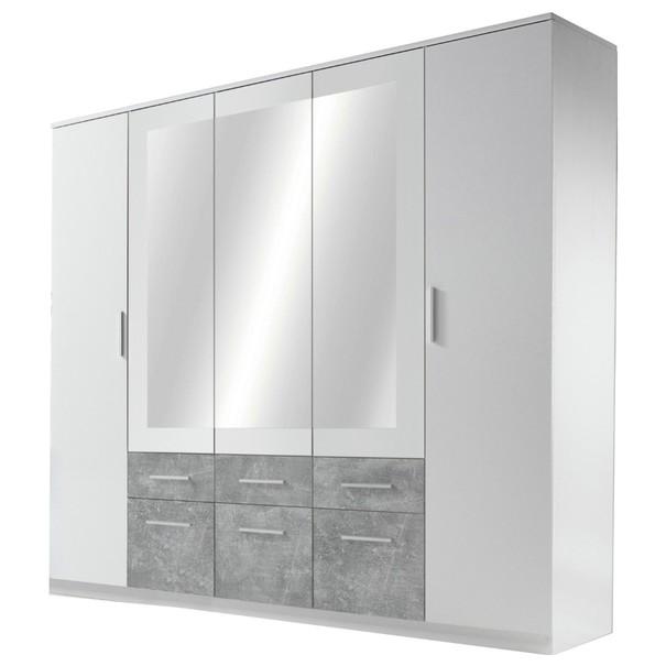 Šatníková skriňa FIENA biela/betón 1