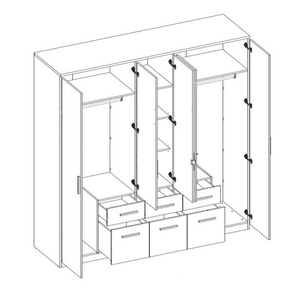 Šatníková skriňa FIENA biela/betón 3