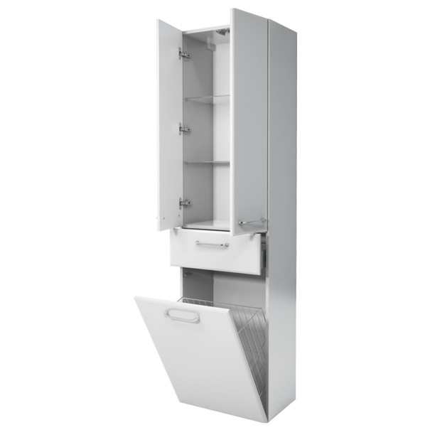 Vysoká koupelnová skříňka FILO bílá vysoký lesk 2