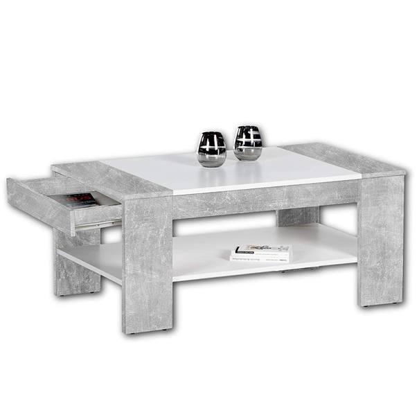 Sconto Konferenční stolek FINLEY PLUS beton/bílá - nábytek SCONTO nábytek.cz