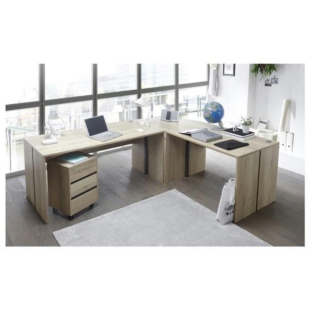 Psací stůl - rohová kombinace FJORD dub cleveland 2