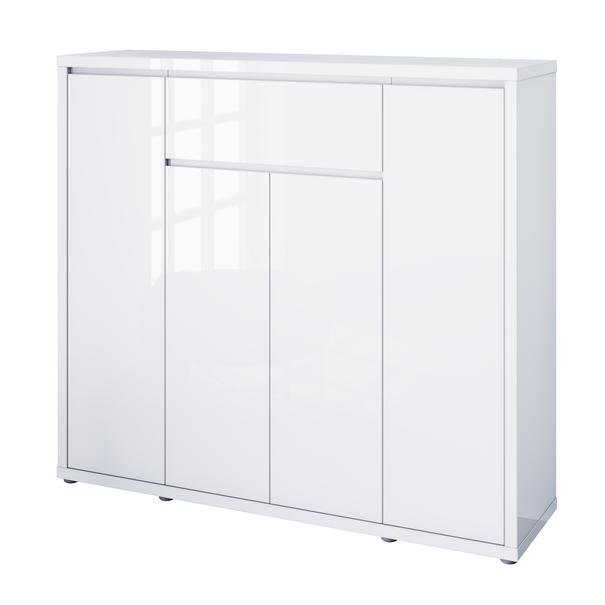 Sconto Botník FLAP bílá vysoký lesk, šířka 133 cm, zásuvka - nábytek SCONTO nábytek.cz