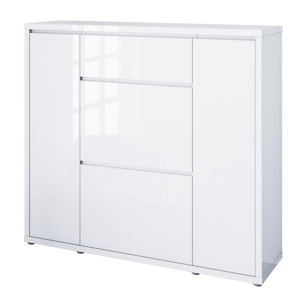 Sconto Botník FLAP bílá vysoký lesk, šířka 133 cm, výklopy - nábytek SCONTO nábytek.cz