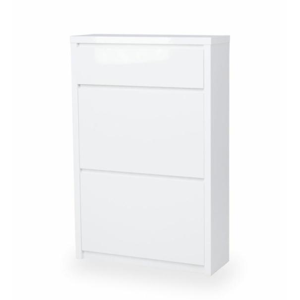 Sconto Botník FLAP bílá vysoký lesk, výška 107 cm, zásuvka - nábytek SCONTOnábytek.cz