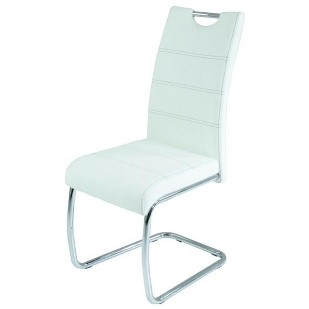 Jedálenská stolička FLORA S biela, syntetická koža 1