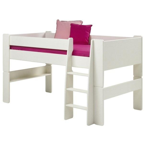 Sconto Zvýšená postel se schůdky FOR KIDS 613 bílá, 90x200 cm - nábytek SCONTOnábytek.cz