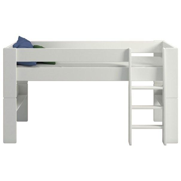 Zvýšená postel se schůdky  FOR KIDS 613 bílá, 90x200 cm 3