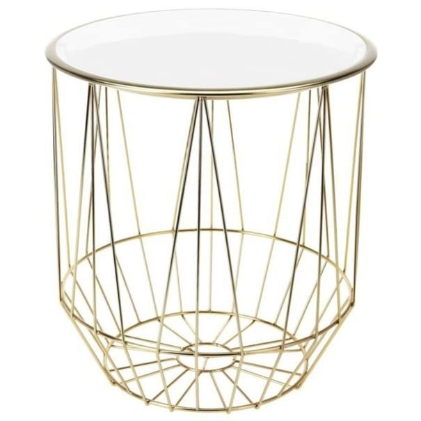 Přístavný stolek FORST bílá/zlatá 1