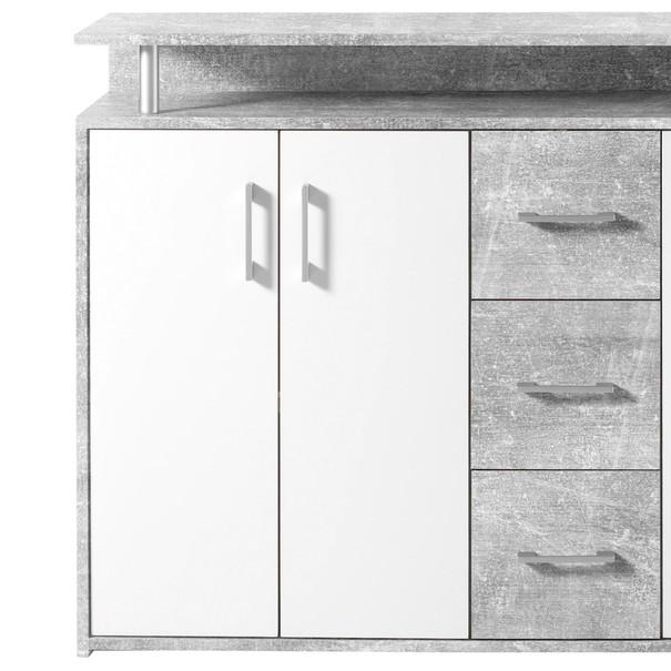 Komoda FUEGO beton/biela 3