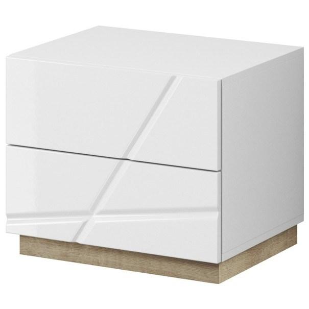 Noční stolek FUTURA 14 bílá vysoký lesk/dub riviera 1