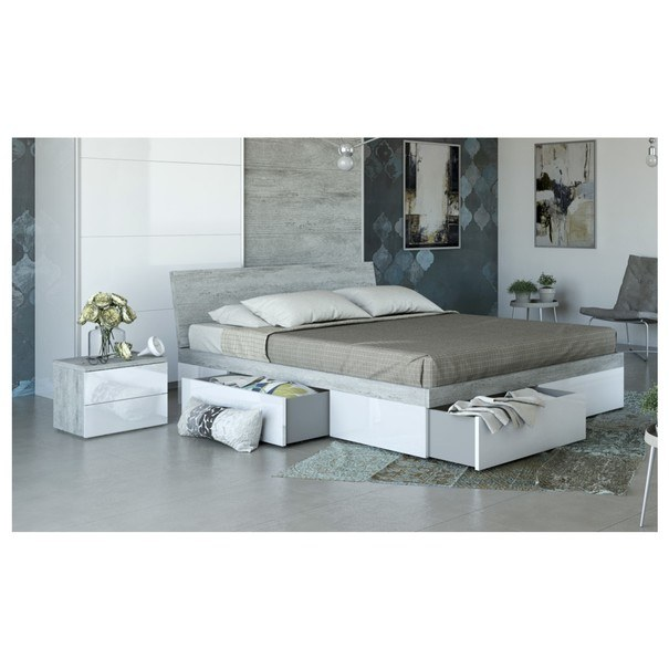 Nočný stolík GAVERA biela/betón 2