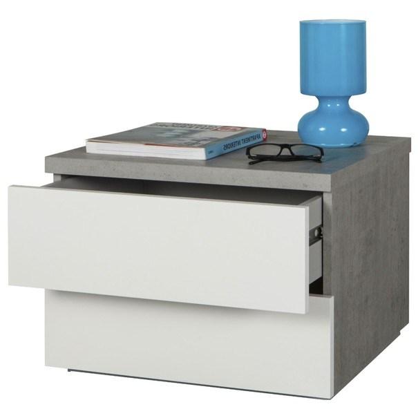 Nočný stolík GAVERA biela/betón 3