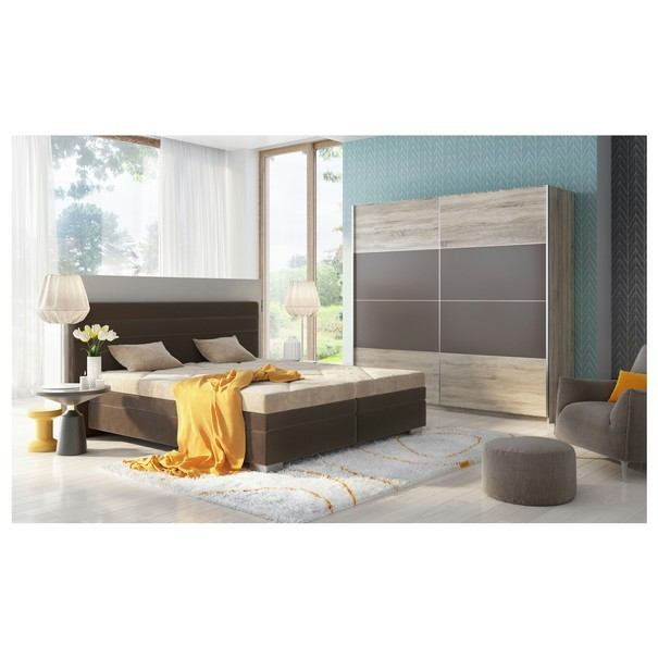 Polohovací postel GLORIA hnědá/béžová, 180x200 cm 5