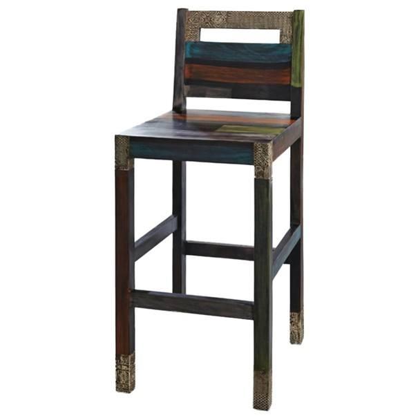 Barová stolička GOA mangovník/akácia/kovová aplikácia 1