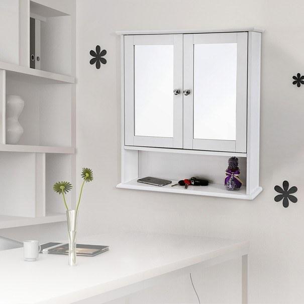 Koupelnová skříň se zrcadlem GORDES bílá 2