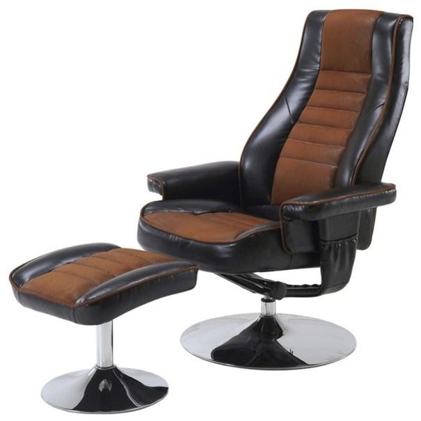Relaxační křeslo s taburetem HILDERS hnědá/černá 1