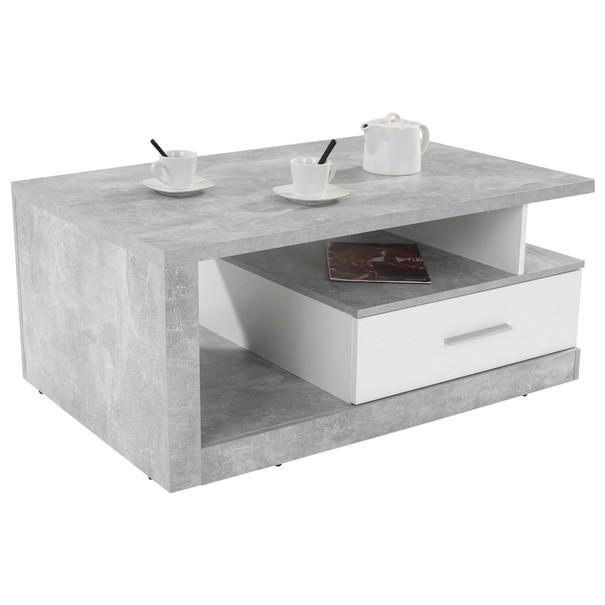 Sconto Konferenční stolek IGUAN beton/bílá - nábytek SCONTOnábytek.cz