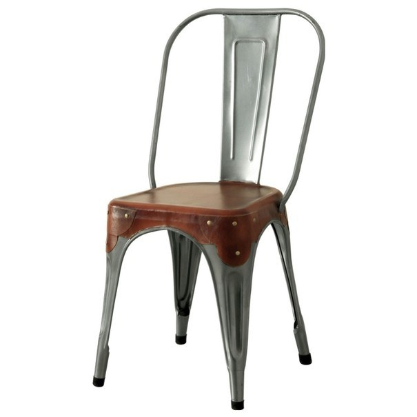 Stolička IRON železo almond/hnedý kožený poťah 1