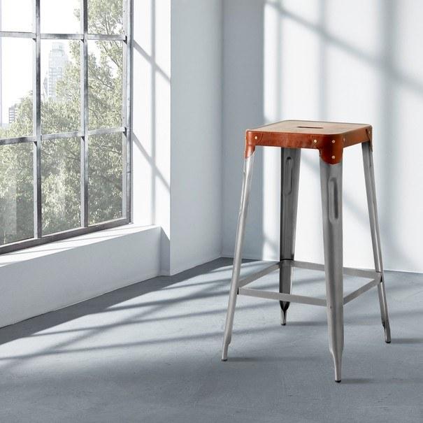 Barová židle IRON železo almond/hnědý kožený potah 2