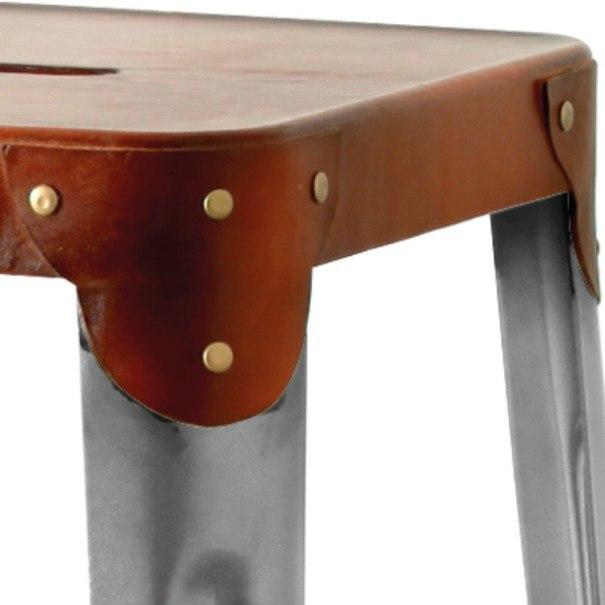 Barová židle IRON železo almond/hnědý kožený potah 3