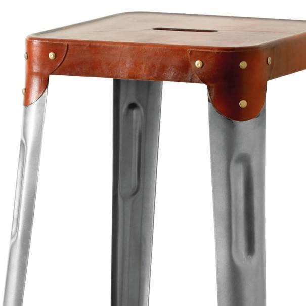 Barová židle IRON železo almond/hnědý kožený potah 4
