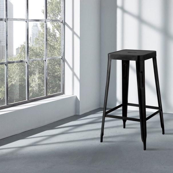 Barová stolička IRON čierna/železo 2