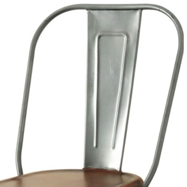 Jídelní židle IRON železo almond/hnědý kožený potah 2
