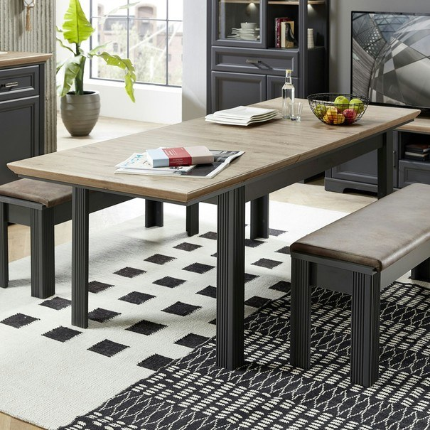 Jídelní stůl JASMIN grafit/dub artisan 9