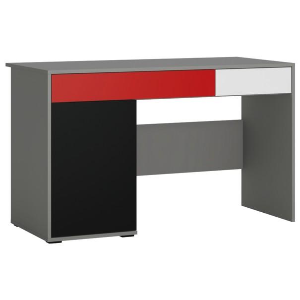 Sconto Písací stôl LASER červená/sivá