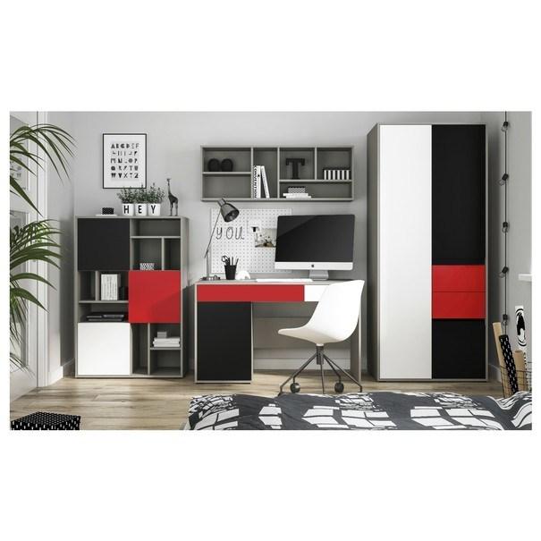 Písací stôl LASER červená/sivá 3