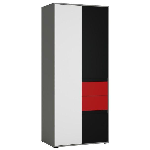 Skříň LASER červená/šedá 1