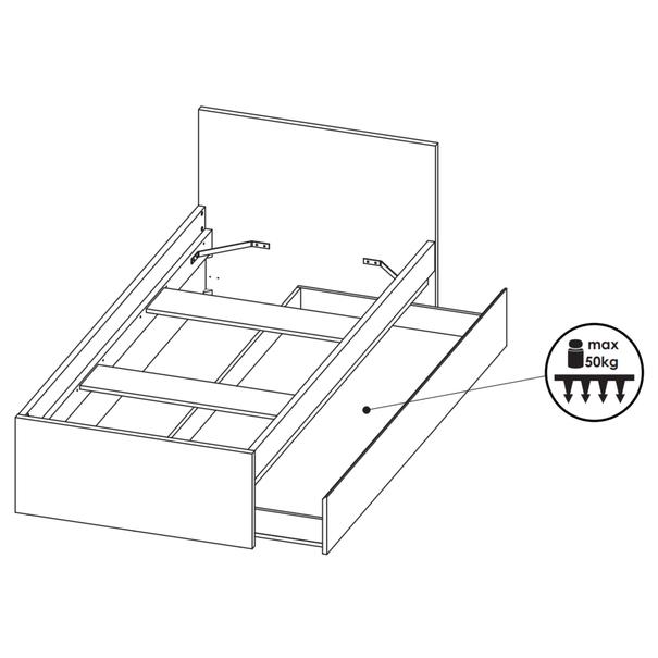 Úložný prostor pod postel LASER šedá/černá 3