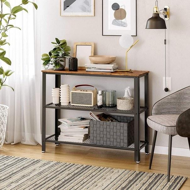 Přístavný stolek  LEIRA černá/hnědá 4