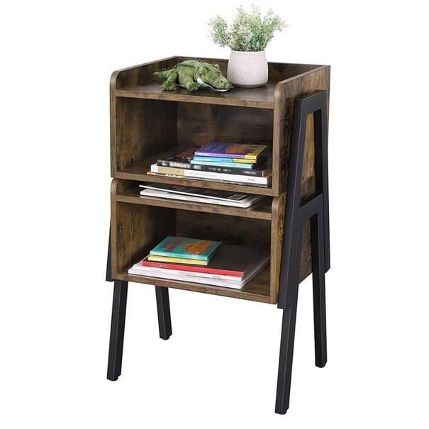 Přístavný stolek  LET54X černá/hnědá 3