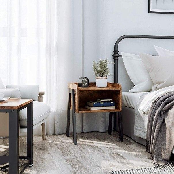 Přístavný stolek  LET54X černá/hnědá 5