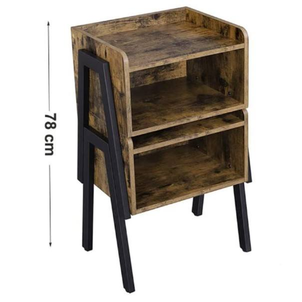 Přístavný stolek  LET54X černá/hnědá 7