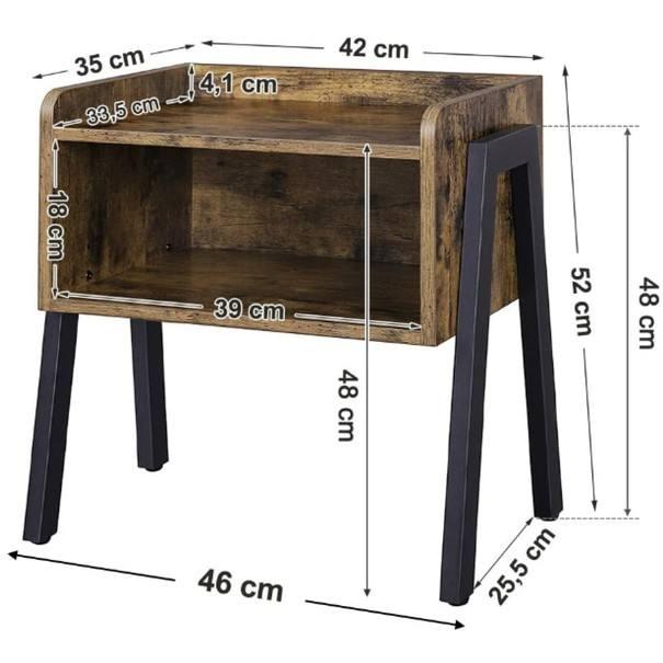 Přístavný stolek  LET54X černá/hnědá 8
